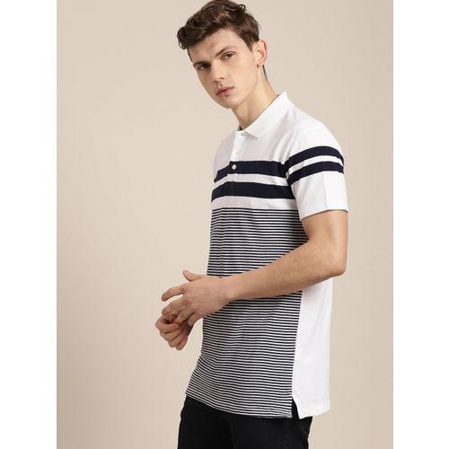 INVICTUS Men White & Navy Blue Striped Polo Collar T-shirt