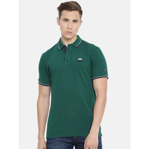 Being Human Clothing Men Green Solid Polo Collar T-shirt