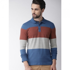 Celio Men Grey Melange & Blue Colourblocked Polo Collar T-shirt