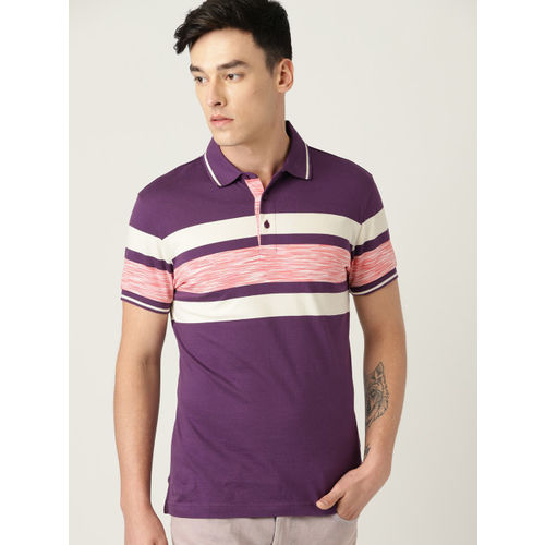 United Colors of Benetton Men Aubergine Striped Polo Collar T-shirt