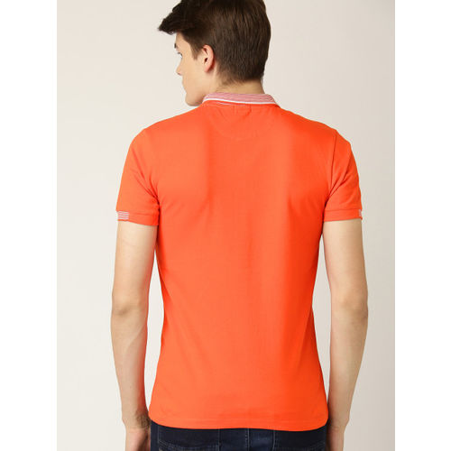 United Colors of Benetton Men Orange Solid Polo Collar T-shirt