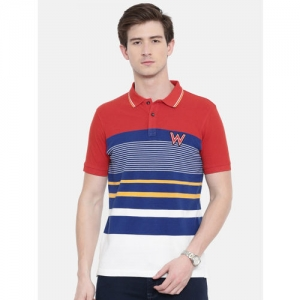 Wrangler Men Orange & Blue Striped Polo Collar T-shirt