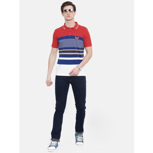 Wrangler Men Orange & Blue Striped Polo Collar T-shirt
