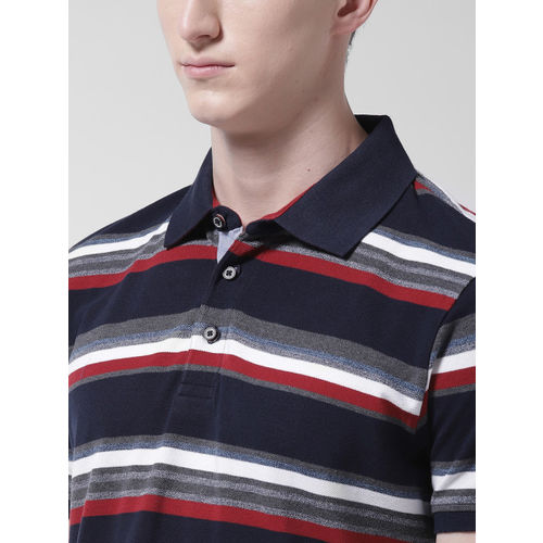 Marks & Spencer Men Navy Blue & White Slim Fit Striped Polo Collar T-shirt