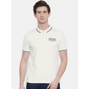 Wrangler Men Off-White Solid Polo Collar T-shirt