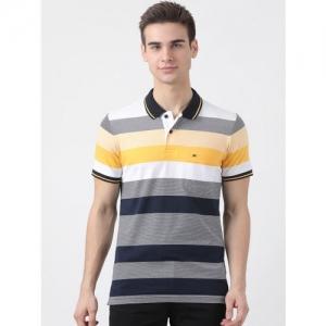 Monte Carlo Men Multicoloured Striped Polo Collar T-shirt