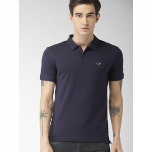 Levis Men Navy Blue Solid Polo Collar T-shirt