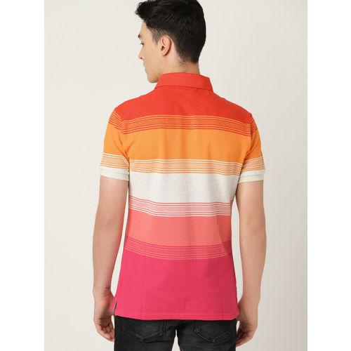 United Colors of Benetton Men Pink & Orange Striped Polo Collar T-shirt