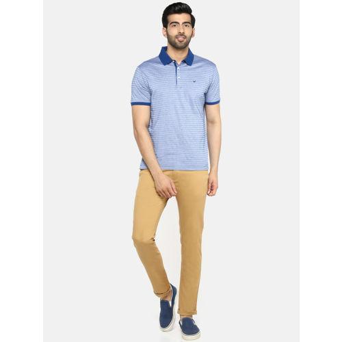 Blackberrys Men Blue & Off-White Striped Polo Collar T-shirt