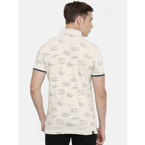 Being Human Men Off-White Printed Polo Collar T-shirt