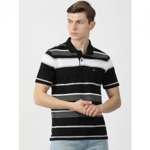 Monte Carlo Men Black Striped Polo Collar T-shirt