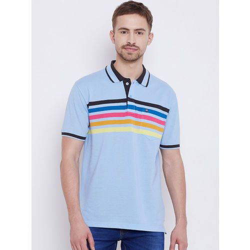 Duke Men Blue Striped Polo Collar T-shirt