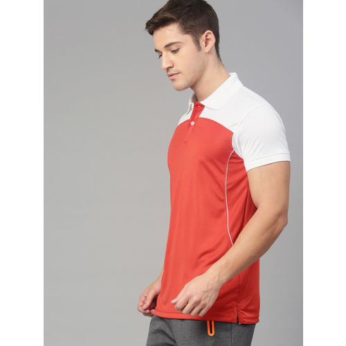 American Crew Men Red & White Colourblocked Polo Collar T-shirt