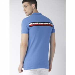 Tommy Hilfiger Men Blue Printed Polo Collar T-shirt