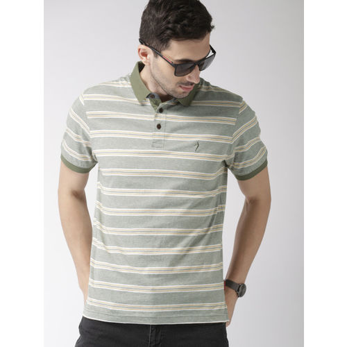 Indian Terrain Men Olive Green & White Striped Polo Collar T-shirt