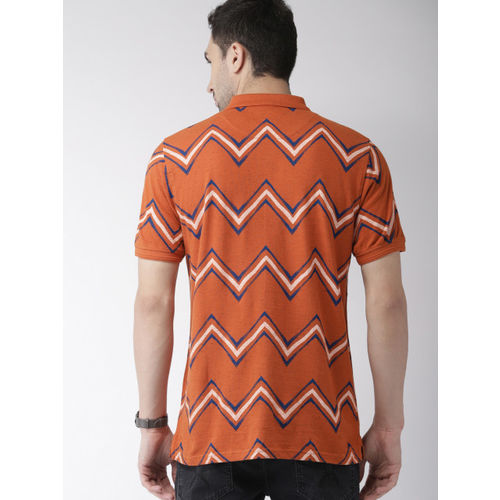 Indian Terrain Men Rust Orange & Blue Printed Polo Collar T-shirt
