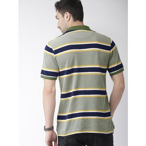 Indian Terrain Men Green & Navy Blue Striped Polo Collar T-shirt