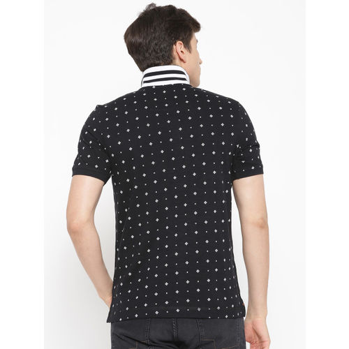 Blackberrys Men Black & White Printed Polo Collar T-shirt