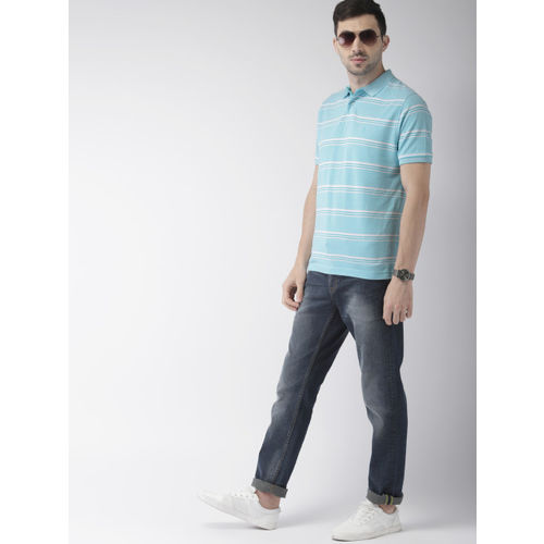 Indian Terrain Men Blue & White Striped Polo Collar T-shirt