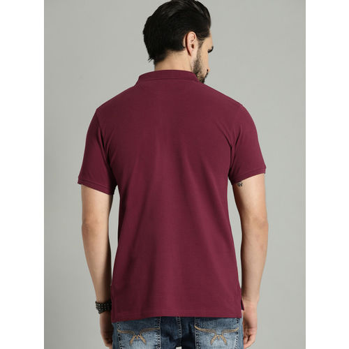 Roadster Men Maroon Solid Polo Collar T-shirt