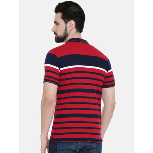 IMYOUNG Men Red Striped Polo Collar T-shirt
