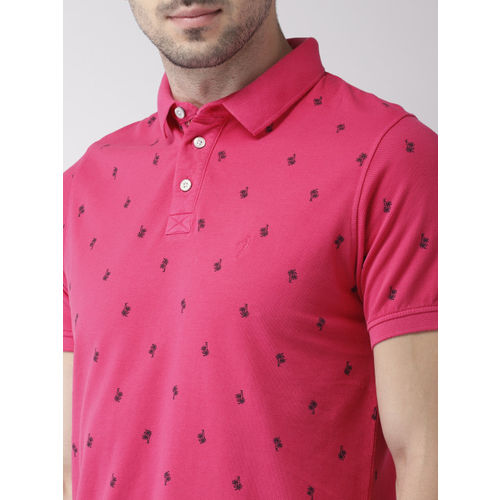 Indian Terrain Men Pink Printed Polo Collar T-shirt