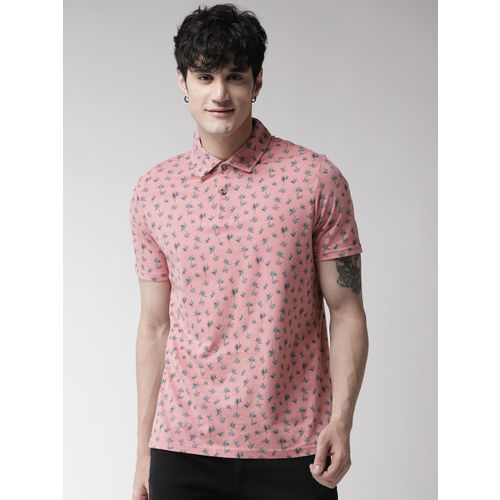 Marks & Spencer Men Pink Printed Polo Collar T-shirt