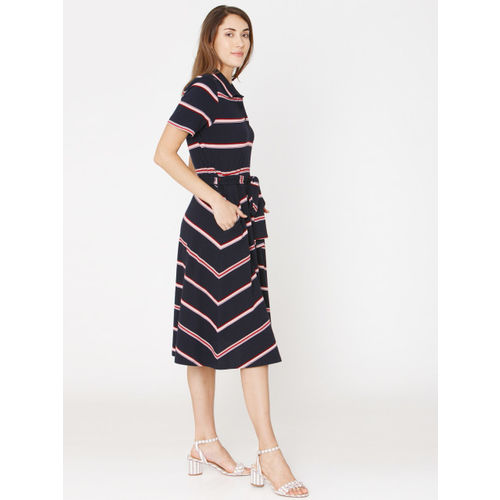 Vero Moda Women Navy Blue Striped Fit and Flare Dress