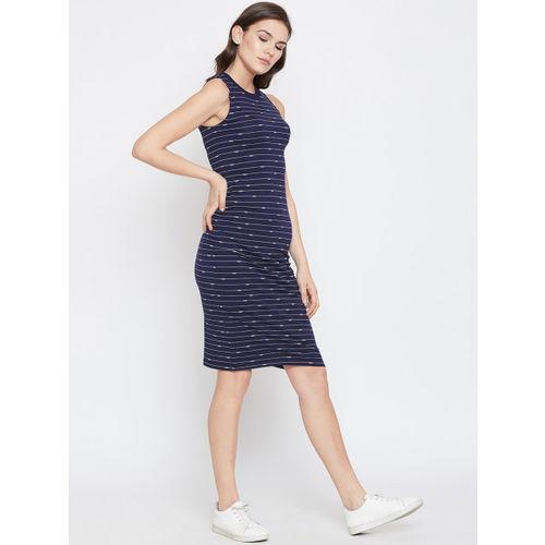 Nun Women Navy Blue Striped Sheath Dress