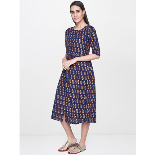 Global Desi Women Navy Blue & Red Printed A-Line Ethnic Dress