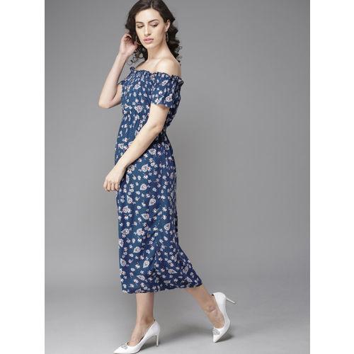 Moda Rapido Women Navy Blue & White Printed Midi Off-Shoulder A-Line Dress