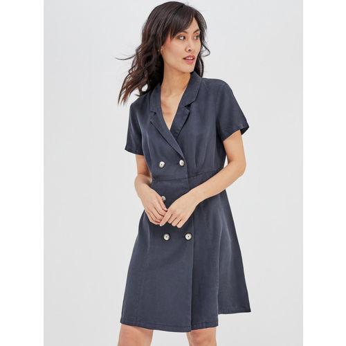 promod Women Navy Blue Solid A-line Dress