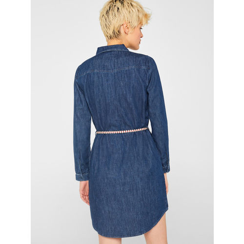 ESPRIT Women Navy Blue Solid Chambray Shirt Dress