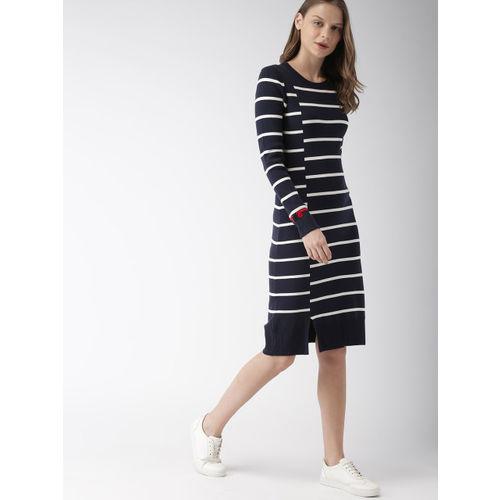 Tommy Hilfiger Women Navy Blue & White Striped Sweater Dress