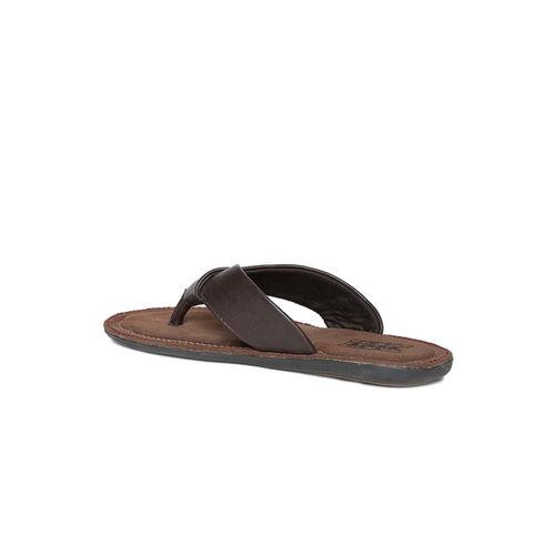 Duke Men Brown Solid Slip-On Flip Flops