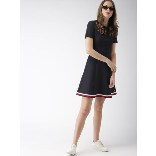 Tommy Hilfiger Women Navy Blue Solid Fit and Flare Dress