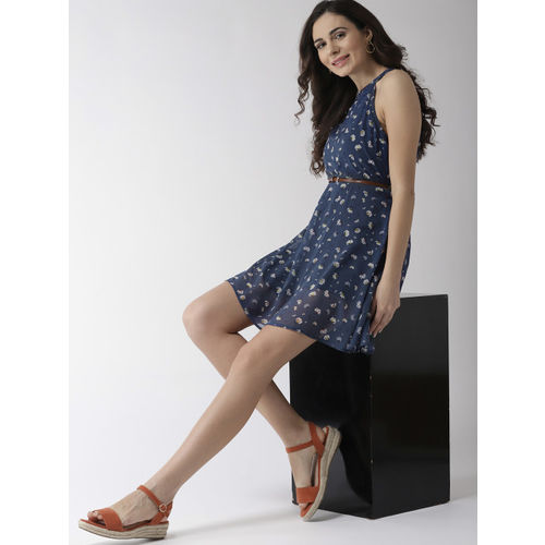 Mast & Harbour Women Navy Blue & White Printed A-Line Dress