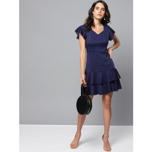 Orchid Blues Women Navy Blue Solid A-Line Dress