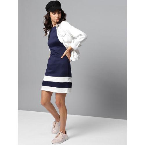Orchid Blues Women Navy Blue Solid Sheath Dress
