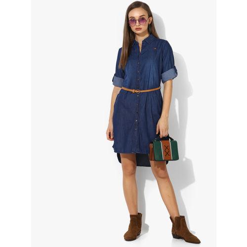 Deal Jeans Women Navy Blue Solid Shirt Dress