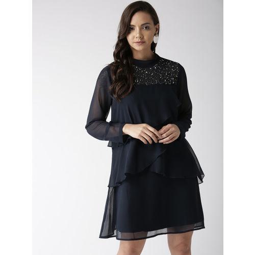 Antheaa Women Navy Blue Solid Ruffled A-Line Dress