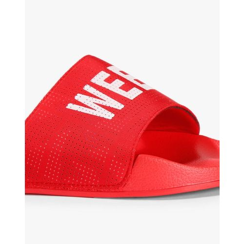 United Colors of Benetton Men Red Printed Sliders