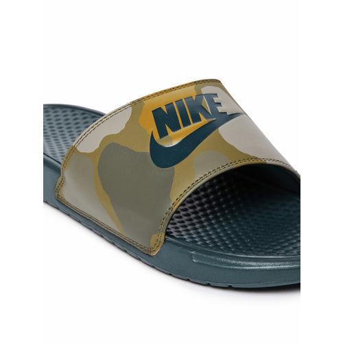 Nike Men Green & Yellow Printed Sliders