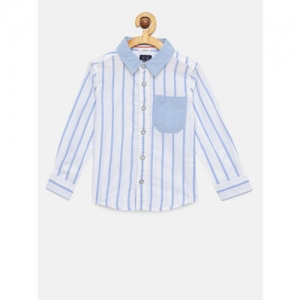 Allen Solly Junior Boys White & Blue Regular Fit Striped Casual Shirt