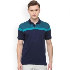 Allen Solly Men Blue Colourblocked Polo Collar T-shirt