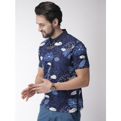 Indian Terrain Men Navy Blue & White Printed Polo Collar T-shirt