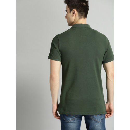 Roadster Men Green Solid Polo Collar T-shirt
