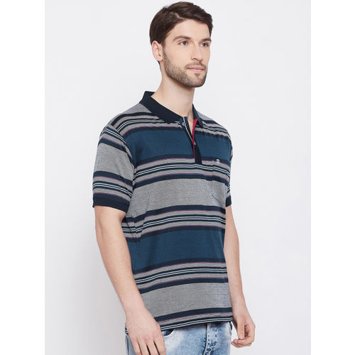Duke Men Blue & White Striped Polo Collar T-shirt