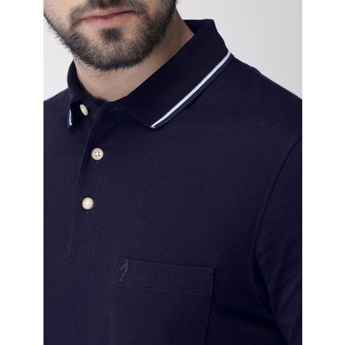 Indian Terrain Men Navy Blue Self Design Polo Collar T-shirt