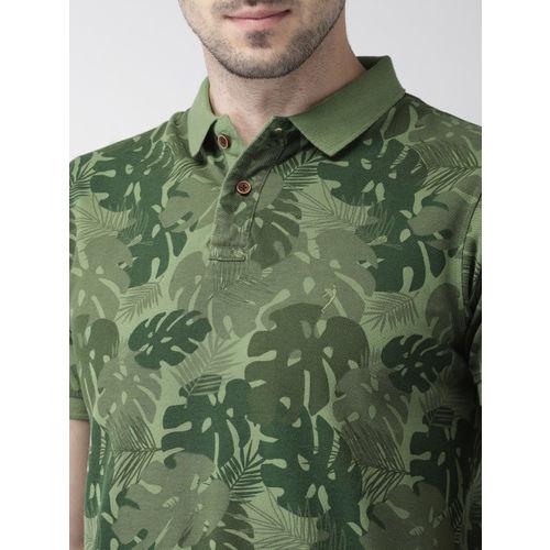 Indian Terrain Men Green Printed Polo Collar T-shirt